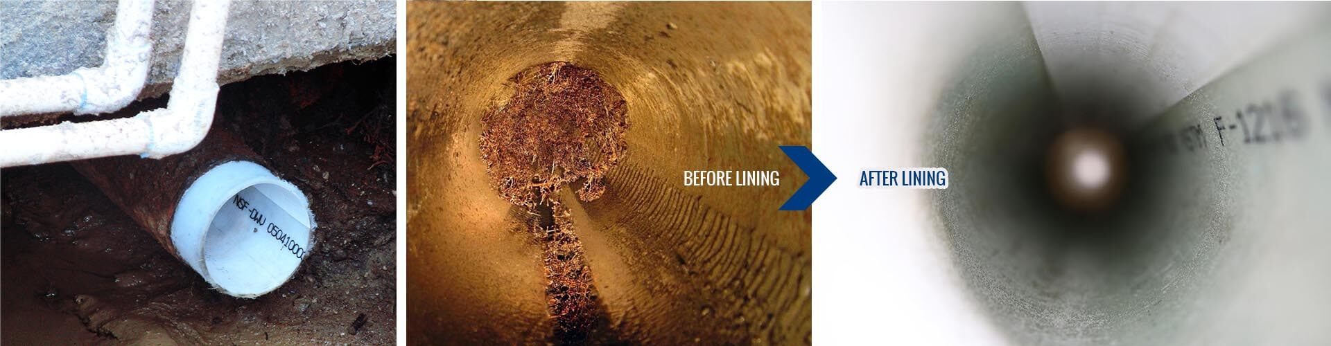 Trenchless sewer repair banner image featuring before and after service images for trenchless sewer repair