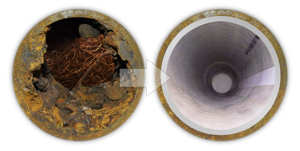 Perma Lateral Pipe Lining System Before and After Sewer Pipe Repairs