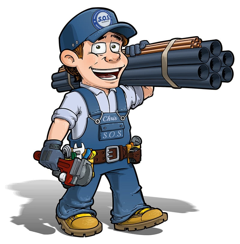 SOS Plumbing Mascot and Logo Plumber in California